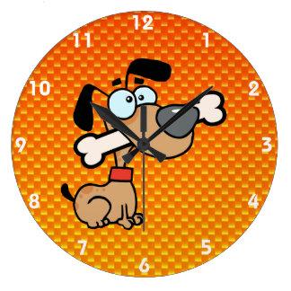 Yellow Orange Cartoon Dog Round Clock