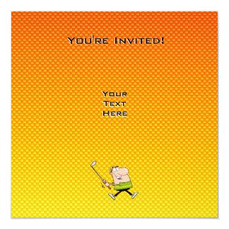 Yellow Orange Cartoon Golfer 13 Cm X 13 Cm Square Invitation Card