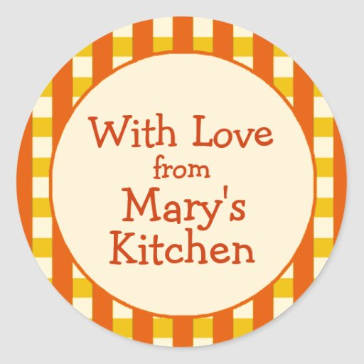 Yellow & Orange Checkered Border Canning Labels Stickers