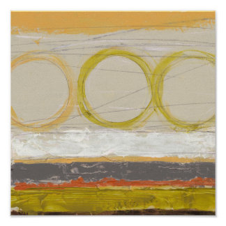 Yellow & Orange Circles on Multicolored Background Poster