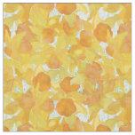 Yellow Orange Daffodils on Green Floral Fabric