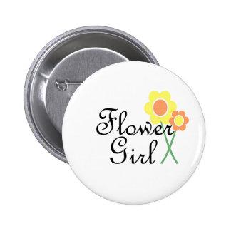 Yellow Orange Daisy Flower Girl 6 Cm Round Badge