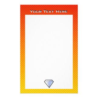Yellow Orange Diamond Personalized Stationery