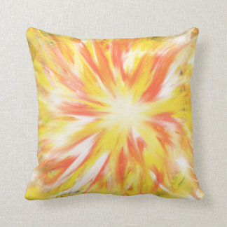 Yellow Orange Flames Fire Star Abstract Art Design Cushion