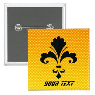 Yellow Orange Fleur de lis 15 Cm Square Badge