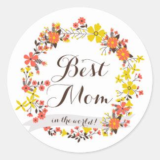 Yellow & Orange Floral Wreath Best Mom Sticker