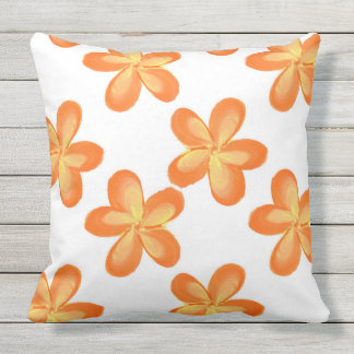 Yellow Orange Flower Pattern Outdoor Cushion