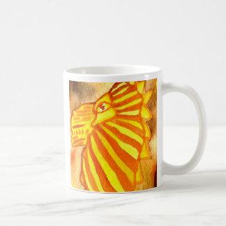 Yellow Orange Gold Autumn Lion Cat Abstract Art Coffee Mug