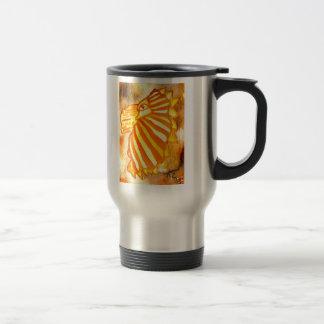Yellow Orange Gold Autumn Lion Cat Abstract Art Mugs