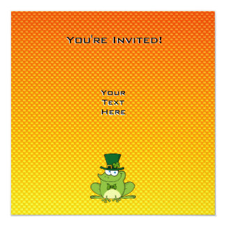 Yellow Orange Irish Frog 13 Cm X 13 Cm Square Invitation Card