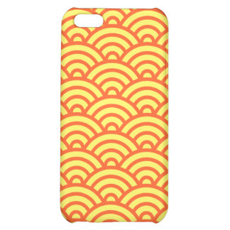Yellow orange Japaneese abstract wave pattern case Cover For iPhone 5C