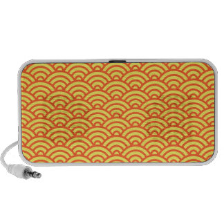 Yellow orange Japaneese abstract wave pattern Travel Speakers