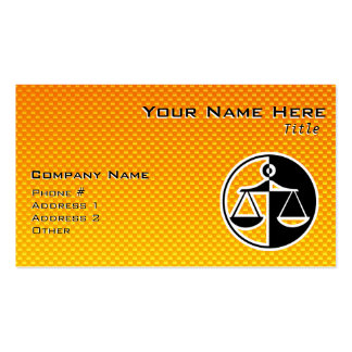 Yellow Orange Justice Scales Pack Of Standard Business Cards