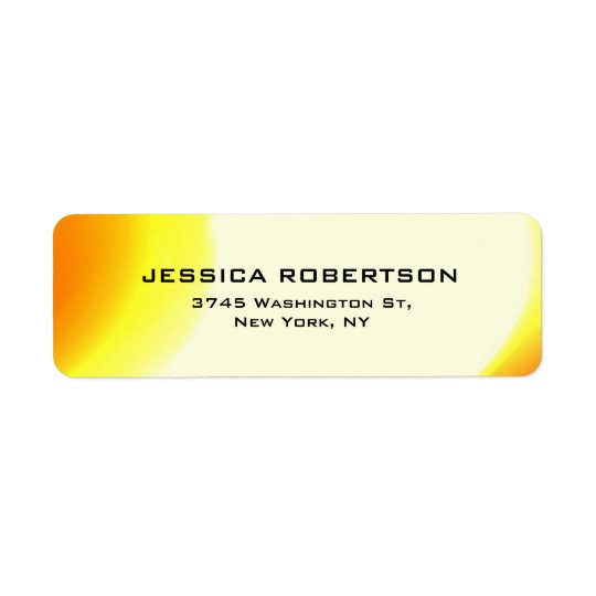 Yellow Orange Legible Plain Elegant Modern Trendy Return Address Label