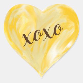 Yellow Orange Love Heart Xoxo Watercolor Painted Heart Sticker