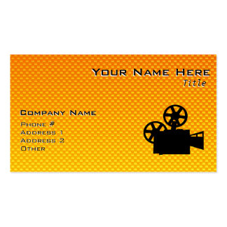 Yellow Orange Movie Camera Business Card Template