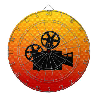 Yellow Orange Movie Camera Dartboard