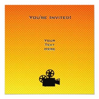 """Yellow Orange Movie Camera 5.25"""" Square Invitation Card"""