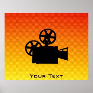 Yellow Orange Movie Camera Poster