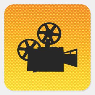 Yellow Orange Movie Camera Sticker