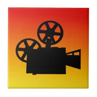 Yellow Orange Movie Camera Tile