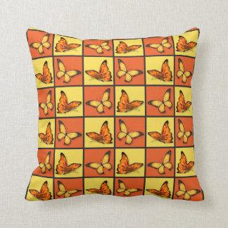 Yellow & Orange Patchwork Butterflies Cushion