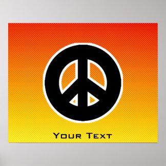 Yellow Orange Peace Sign Poster