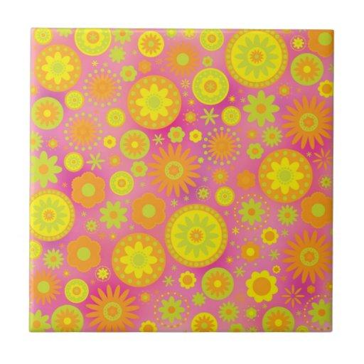 Yellow Orange & Pink Hippy Flower Pattern Ceramic Tiles