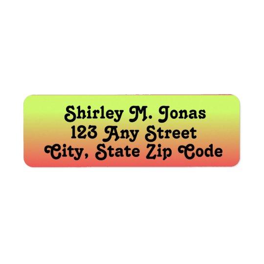 Yellow, Orange, Pink Return Address Labels