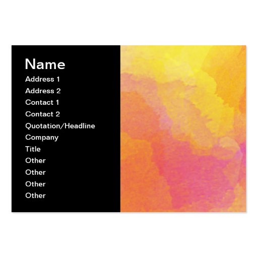 Yellow Orange Pink Watercolor Wash Abstract Art Business Card Templates