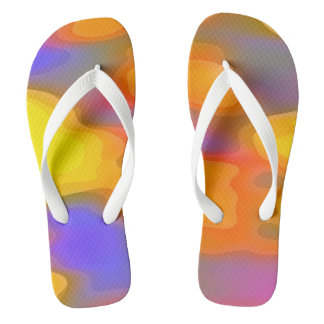 Yellow Orange Purple Abstract Artwork Thongs
