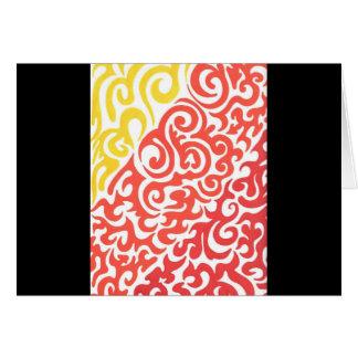 Yellow Orange Red Swirl Greeting Card