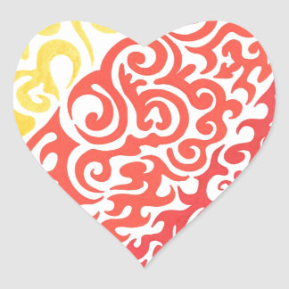 Yellow Orange Red Swirl Heart Sticker
