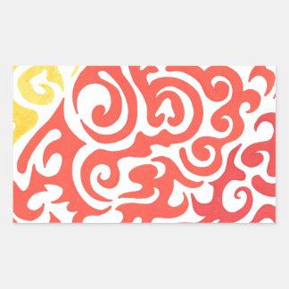 Yellow Orange Red Swirl Rectangular Sticker