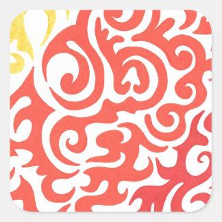 Yellow Orange Red Swirl Square Sticker