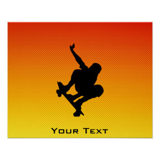 Yellow Orange Skateboarding Poster