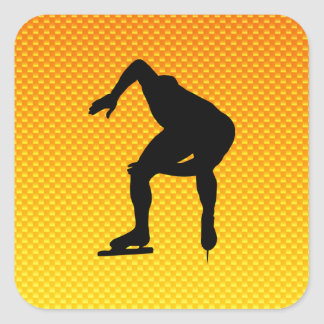 Yellow Orange Speed Skater Square Stickers