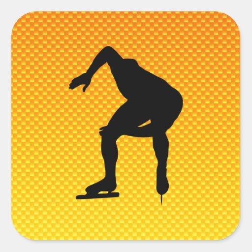 Yellow Orange Speed Skater Square Stickers
