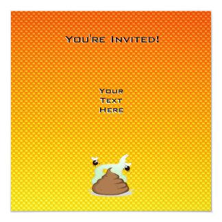 Yellow Orange Stinky Poo 13 Cm X 13 Cm Square Invitation Card