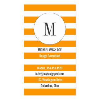 Yellow-Orange Stripes w/ Monogram Business Card