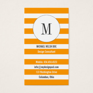 Yellow-Orange Stripes w/ Monogram Business Card