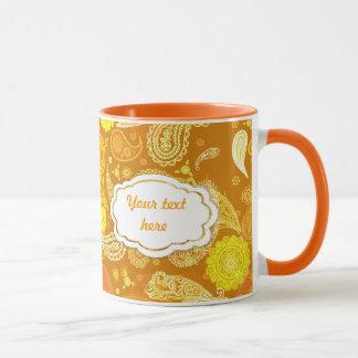 Yellow  orange sunny  paisley customisable mug