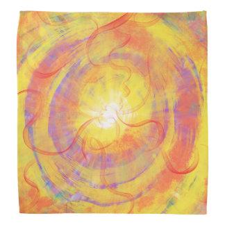 Yellow Orange Swirling Star Abstract Art Design Bandana