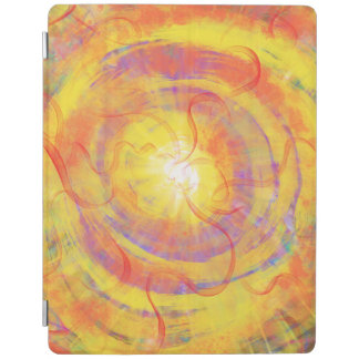 Yellow Orange Swirling Star Abstract Art Design iPad Cover
