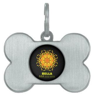 *~* Yellow Orange Tribal Aztec Mandala Pet ID Tag