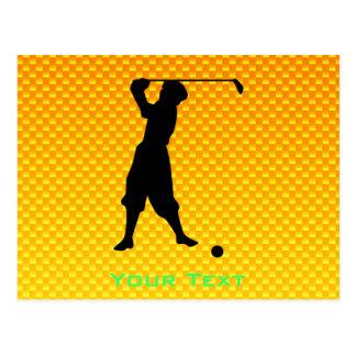 Yellow Orange Vintage Golfer Postcard