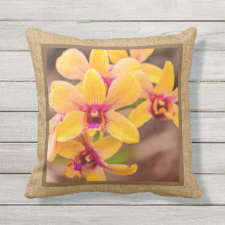 Yellow Orchid Hawaiian Tropical Reversible Outdoor Outdoor Cushion