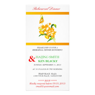 Yellow Orchid Rehearsal Dinner Invitation Personalized Photo Card