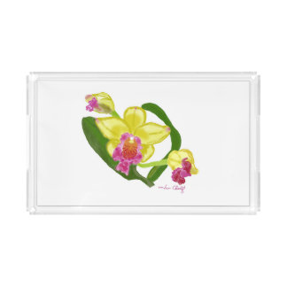 Yellow Orchid Serving Tray