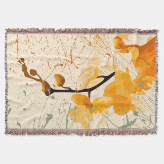 Yellow Orchid Throw Blanket